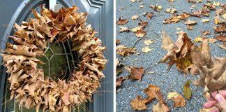 Jesenný veniec z lístia | DIY nápad na najjednoduchší veniec na dvere