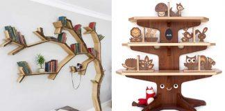 Police v tvare stromu | 15 originálnych dizajnov na neobyčajné poličky