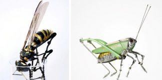 Edouard Martinet mení staré diely bicyklov a áut na sochy zvierat #2