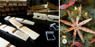 Snehová vločka z drevených štipcov | DIY nápad na vianočnú ozdobu