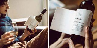 Etiketa na fľaši vína obsahuje krátke príbehy na čítanie počas pitia