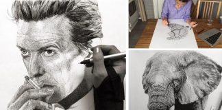 Realistické portréty technikou bodkovania | Julia Koceva