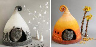 Plstené domčeky pre mačky značky FeltField od Yuliyu Kosatu