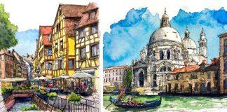 Akvarelové maľby miest, ktoré umelec našiel online a rád by ich navštívil