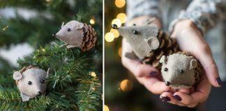 Ježkovia zo šišiek a filcu | DIY nápad a návod na roztomilé ozdoby
