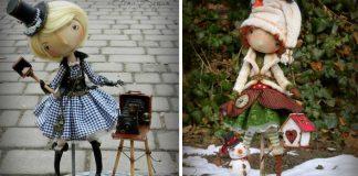 Šité bábiky so širokým úsmevom a malými očkami | Elena Kogan