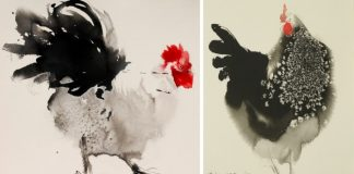 Atramentové maľby kohútov   Výtvarné umenie spod rúk Endre Penovac