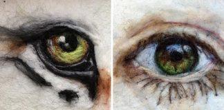 Plstené oči plné detailov | Maľovanie ihlou na plstenie od Sarah Vaci