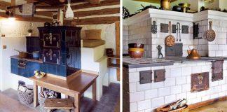 Kachľové pece a sporáky, ktoré sú dominantou vidieckych kuchýň