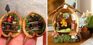 Miniatúry v orechových škrupinkách | Miniatúrne handmade umenie