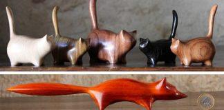 Vyrezávané zvieratká v minimalistickom štýle rukami rezbára Perry Lancaster