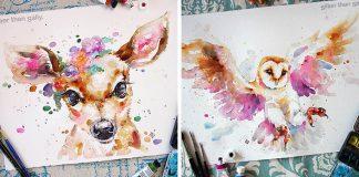 Pestrofarebné akvarelové maľby zvierat | Sally Welsh