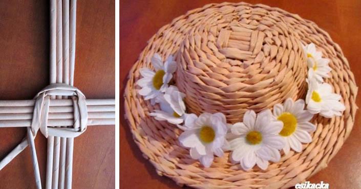 fc101f71c Klobúk pletený z papierových ruličiek | DIY nápad a návod ako sa to robí