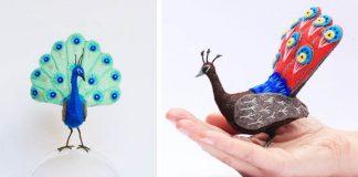 Pávy z filcu | Farebné sochy pávov z filcu a hrubých nití od Jill Ffrench