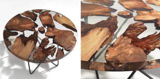 Úžasný stôl zo živice, v ktorej sú zaliate kúsky 50,000 ročného dreva
