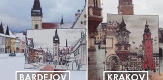 Ilustrácie európskych miest cestovateľom a ilustrátorom Maxwell Tilse