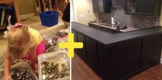 Barový pult zdobený kovovými vrchnákmi od fliaš | DIY nápad