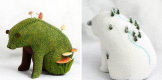 Medvede z filcu na chrbte nesú malé svety | Jessie Cunningham