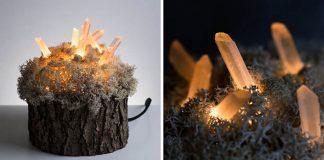 Nočné lampy z kryštálov a machu dodávajú domovu čarovnú atmosféru   Shroom in the Room