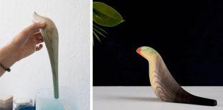Drevené sochy vtáctva máčané vo vodových farbách | Moisés Hernández