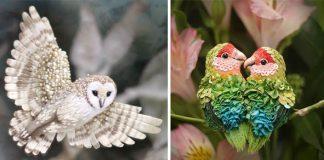 Šité šperky v podobe vtákov | Handmade tvorba spod rúk Julia Gorina