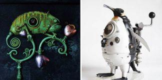 Sochy z odpadu v steampunkovom duchu | Artūras Tamašauskas