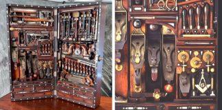 Kufrík s náradím z 19-teho storočia skrýva 300 pomôcok pre rezbárov a stolárov
