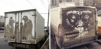 Nikita Golubev maľuje na špinavé autá úžasné umelecké diela
