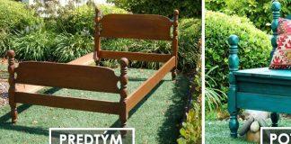 Záhradná vintage lavička zo starého rámu drevenej postele | DIY nábytok