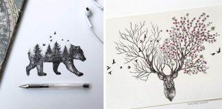 Alfred Basha kreslí portréty zvierat perom, tie sa zlievajú s motívmi prírody