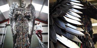 Socha anjela z nožov | Alfie Radley použil 100,000 nožov na sochu anjela