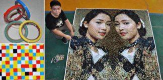 Kel Cruz maľuje pixelované portréty s využitím najrôznejších materiálov