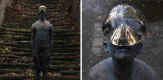 Nazar Bilyk vytvoril sochu obrovskej dažďovej kvapky na tvári človeka