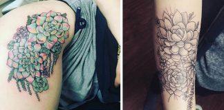 Tetovania inšpirované sukulentmi pre všetkých, ktorí tieto rastlinky milujú