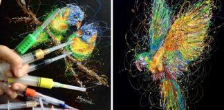 Zdravotná sestra maľuje svoje obrazy pomocou injekčných striekačiek