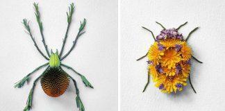 Raku Inoue tvorí kvetinové aranžmány v podobe hmyzu