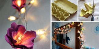 Svetelná reťaz zdobená kvetmi z kartónových obalov na vajíčka | Návod