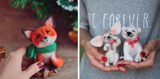 Roztomilé hračky vytvorené suchým plstením spod rúk Lyubov Gorelova