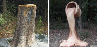 Sochy vyrezané motorovou pílou z kmeňov stromov bez korún | Gabi Rizea