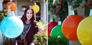 Obrovské vianočné gule rozžiaria vstup do vášho domu | DIY návod