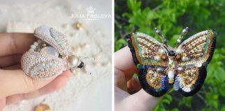 Brošne z korálikov a flitrov v podobe hmyzu | Handmade Julia Frolova