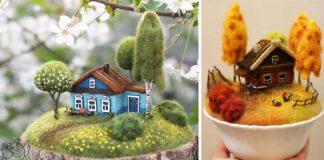 Plstené domčeky a záhradky v šálkach roztopia každé srdce | Handmade