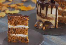 Polonahá tekvicová torta s úžasným krémom a čokoládovou polevou