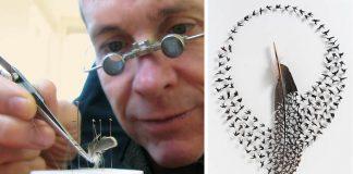 Chris Maynard vyrezáva miniatúrne obrázky z vtáčích pierok