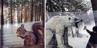 Cellograffiti - graffiti na celofánovú fóliu medzi stromami | Evgeny Ches