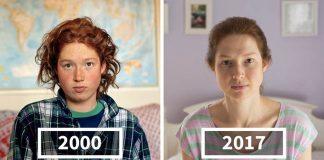 Fotografie porovnávajú priateľov Josephine Sittenfeld z roku 2000 a 2017