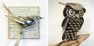 Staré príbory upcykluje na sochy vtákov | Handmade umenie Matt Wilson