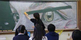 Študenti kreslia na tabuľu prekvapivo pekné kriedové kresby | Illusdreamer