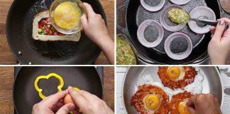 Vajíčka v jamke vytvorenej z chleba, cibuľových krúžkov, papriky či placky