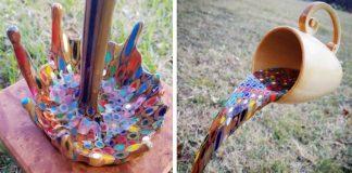Lietajúca šálka, z ktorej sa vylieva farbičková dúha | Kreatívny DIY nápad